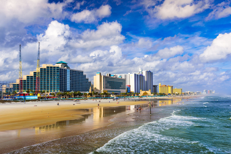 Daytona Beach, Floryda, panorama na plażę, licencja: shutterstock/By Sean Pavone