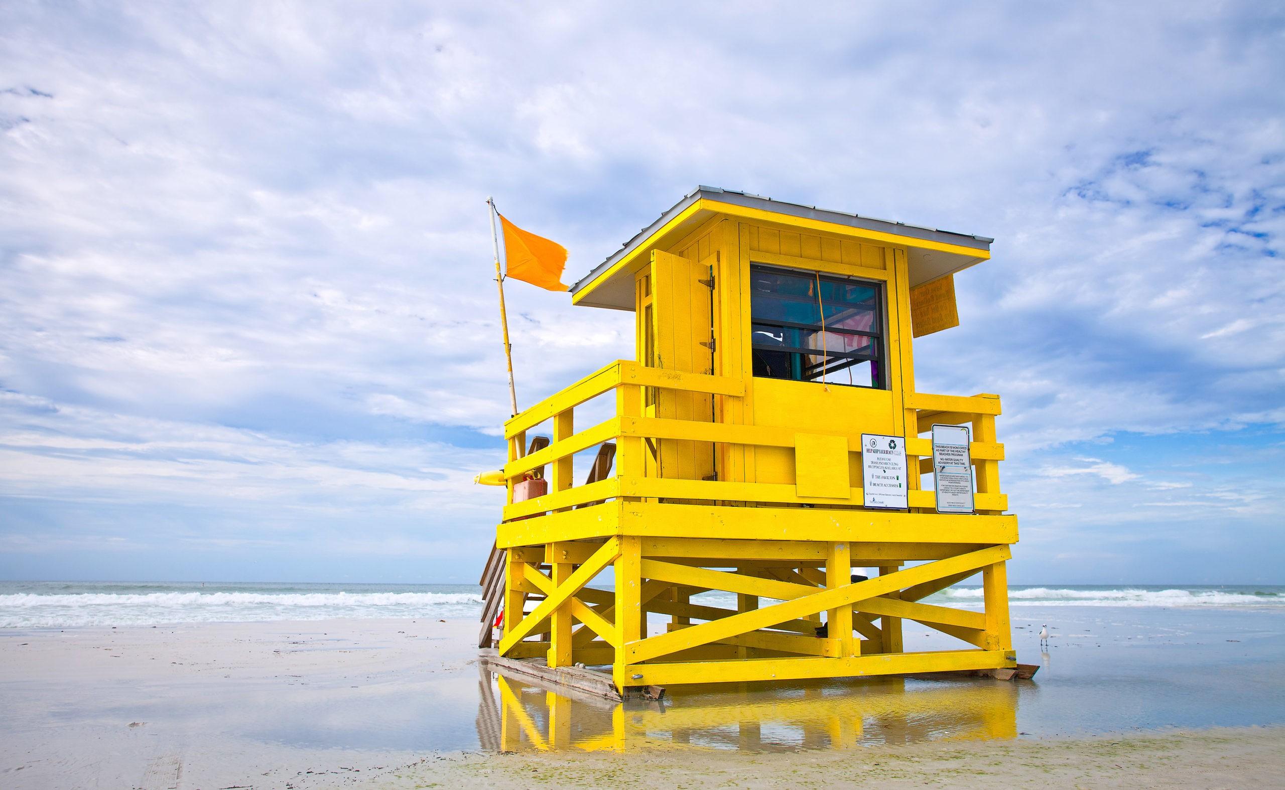 Florida beach yellow lifeguard house , Siesta Key