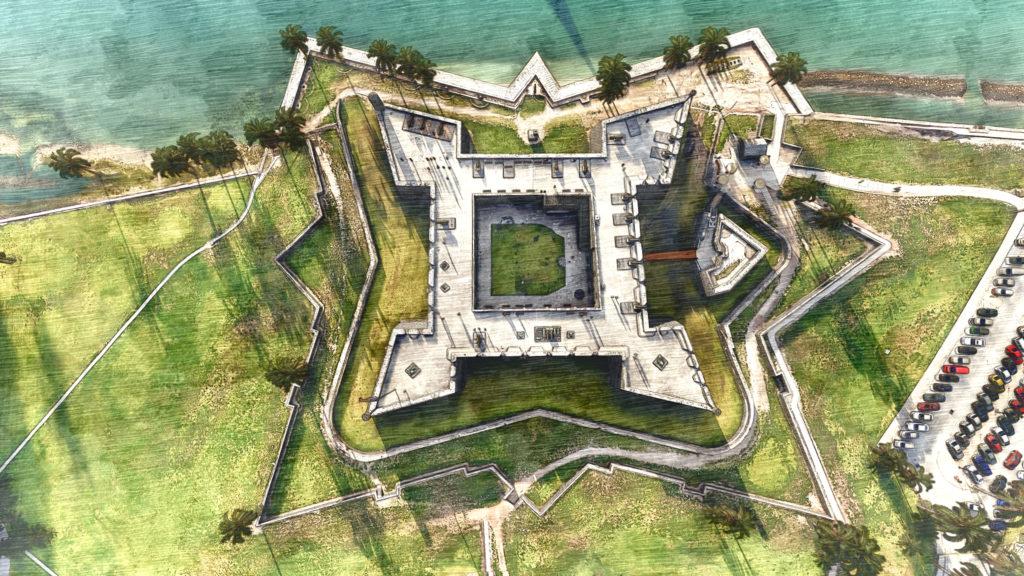 3d illustration of the Castillo de San Marcos Fort in Southern Florida.