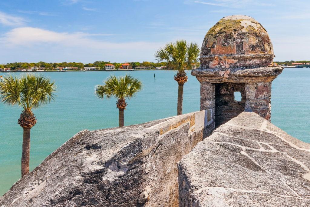 A sentry box turret overlooks Matanzas Bay at the Castillo de San Marcos, a seventeenth century Spanish Fort in Saint Augustine, Florida.