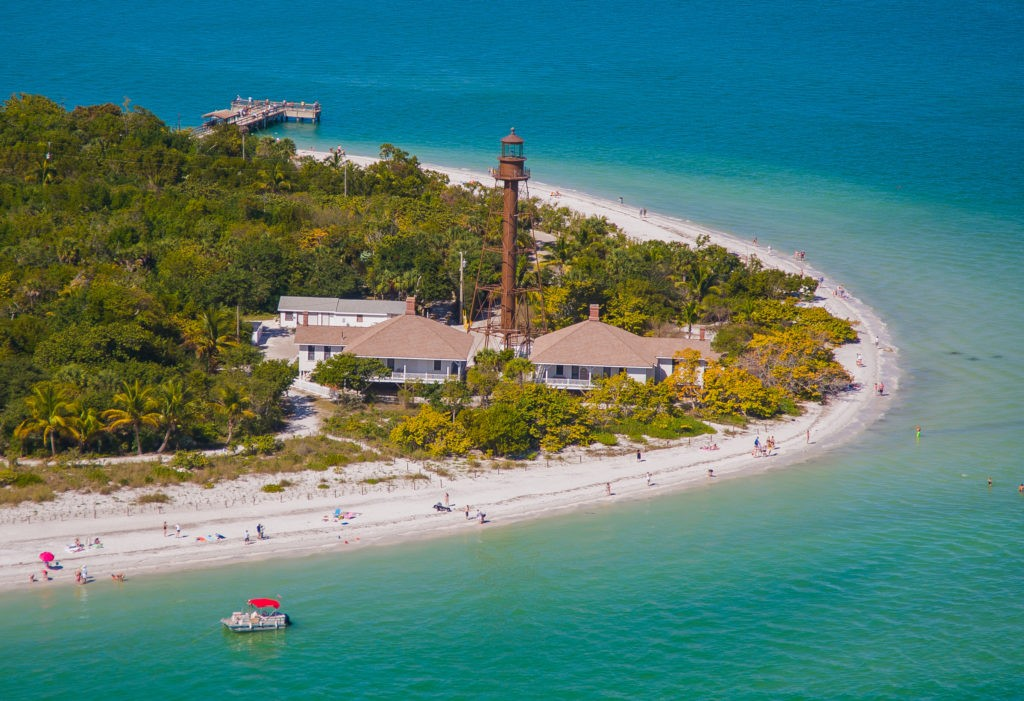 Aerial view of the historic Sanibel Lighthouse Beach Park