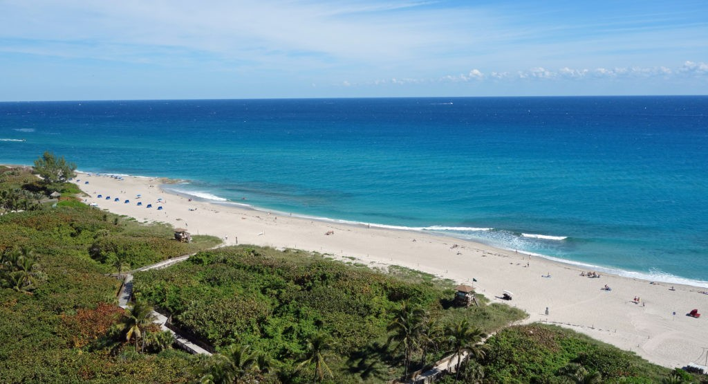Aerial view on Ocean Reef Park on beautiful Singer Island, Florida, a popular beach destination for locals.