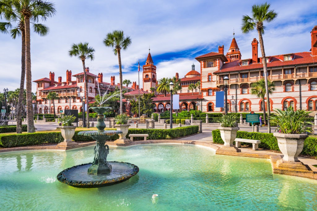 Augustyn, Floryda, rynek miasta USA i fontanna.