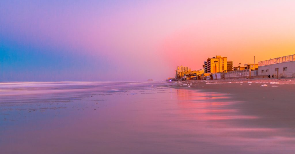 Beautiful ocean sunset view on Ormond Beach in Daytona, Florida. All I wanted to do was bring the colors of the sky to life so I could look at them forever.