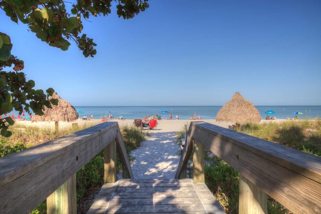 Clear blue sky over Lowdermilk Beach in Naples, Florida