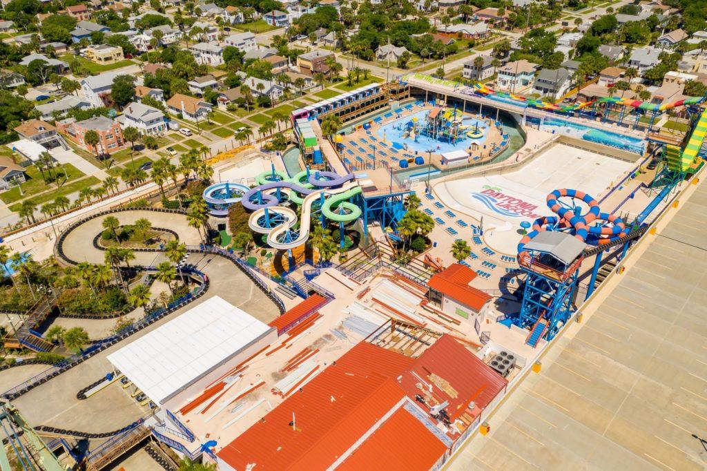 DAYTONA BEACH, FL, USA - MAY 3, 2020: Aerial photo Daytona Lagoon water park