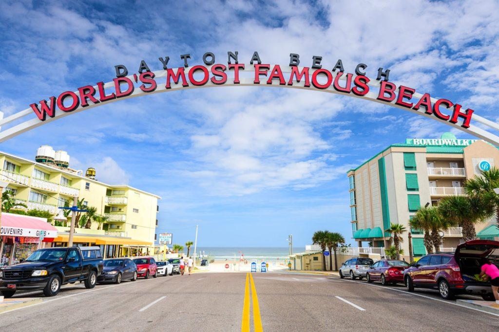 DAYTONA BEACH, FLORIDA - JANUARY 3, 2015: Daytona Beach sign. The popular spring break destination is dubbed