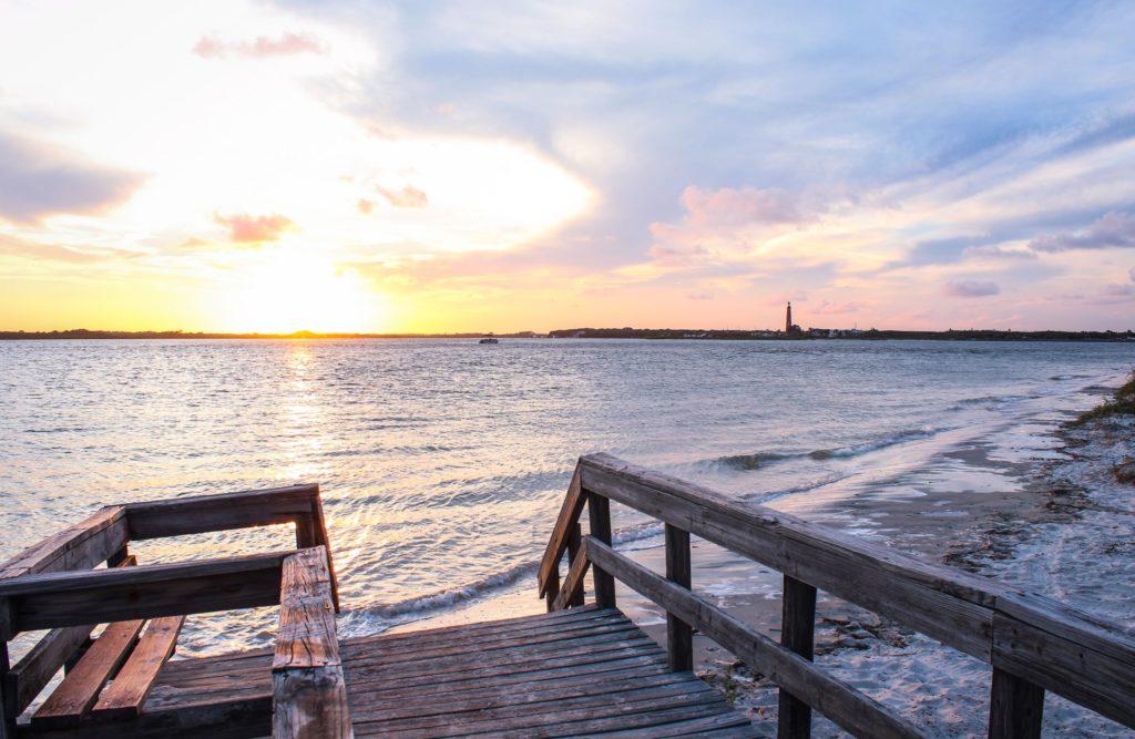 Florida Beach sunset over Inlet in New Smyrna Beach