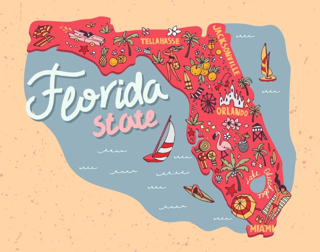 Ilustrowana mapa stanu Floryda, USA. Podróże i atrakcje