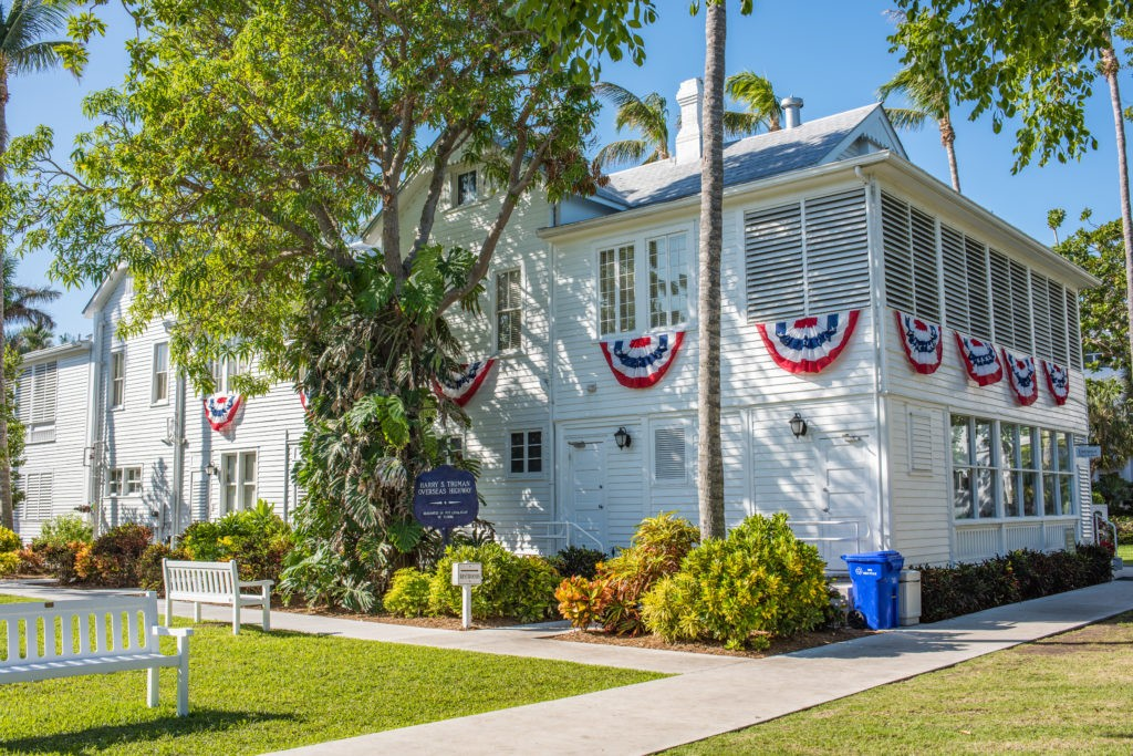 Key West, Florida: December 12, 2017:  Exterior of the Harry S. Truman Little White House, which has been used by American presidents for official state business.