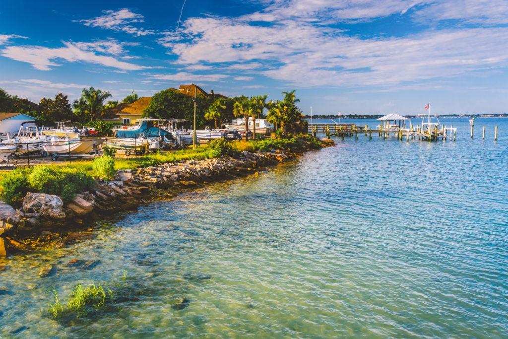 Marina along the Tolomato River, in Vilano Beach, Florida.