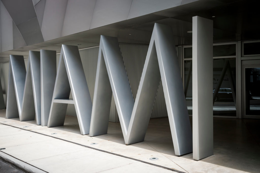 MIAMI - CIRCA AUGUST, 2018: The Institute of Contemporary Art (ICA), which opened in the Design District in 2017, features a photogenic sign in large metallic letters at the entrance.