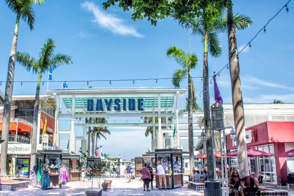 Miami, FL, USA - May 11, 2018: Bayside Marketplace, a festival marketplace in Downtown Miami, is home to an internationally flavored assortment of over 100 stores, shops, restaurants, and cafes.