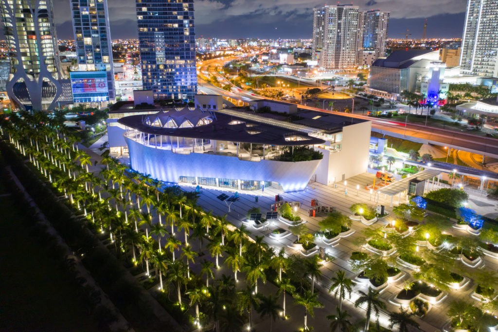 MIAMI, FL, USA - SEPTEMBER 1, 2019: Frost Museum of Science Miami Downtown. Aerial night photo shot with a drone long exposure