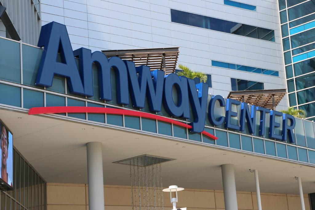 ORLANDO, FL - Orlando's Amway Center sign home of the Orlando Magic.Located in Orlando Florida.