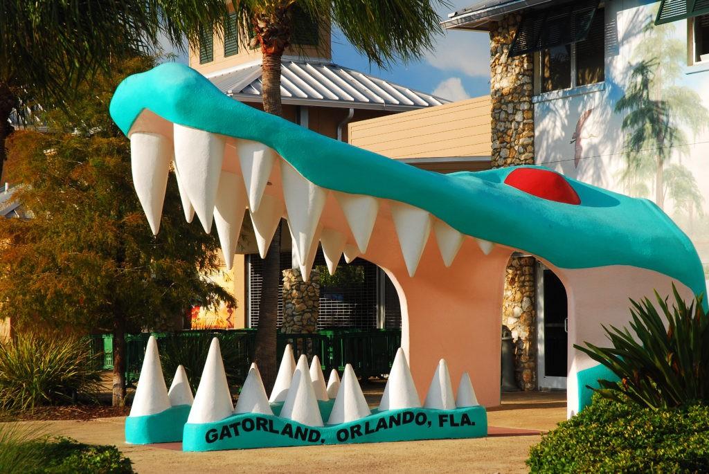 Orlando, FL, USA July 13 A large alligator head marks the entrance to Gatorland, a tourist attraction in Orlando, Florida
