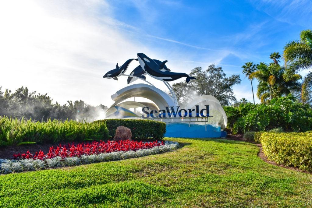 Orlando, Florida. December 19, 2018. Panoramic view of Seaworld sign in International Drive area