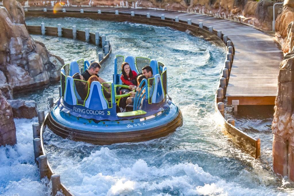Orlando, Florida. December 19, 2018.  People enjoying Infinity Falls attraction at Seaworld Marine Theme Park. (2)