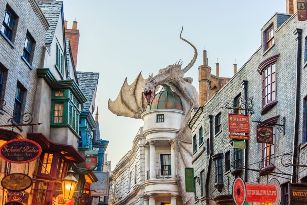 ORLANDO, USA - JANUARY 05, 2017: The Wizarding World of Harry Potter at Universal Studios Orlando. Universal Studios Orlando is a theme park resort in Orlando, Florida.