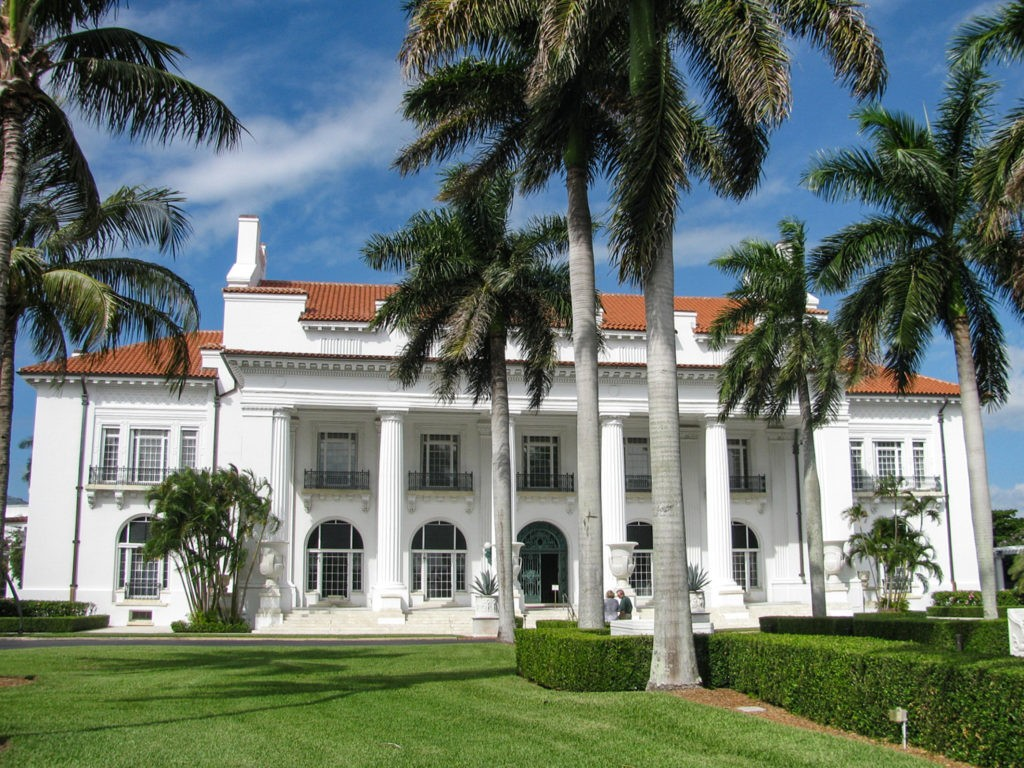 Palm Beach, Florida USA - October 5, 2010: Exterior and grounds of Whitehall, built in 1902 by a Standard Oil founder, now the Henry Morrison Flagler Museum, a showcase of Gilded Age Beaux Arts style