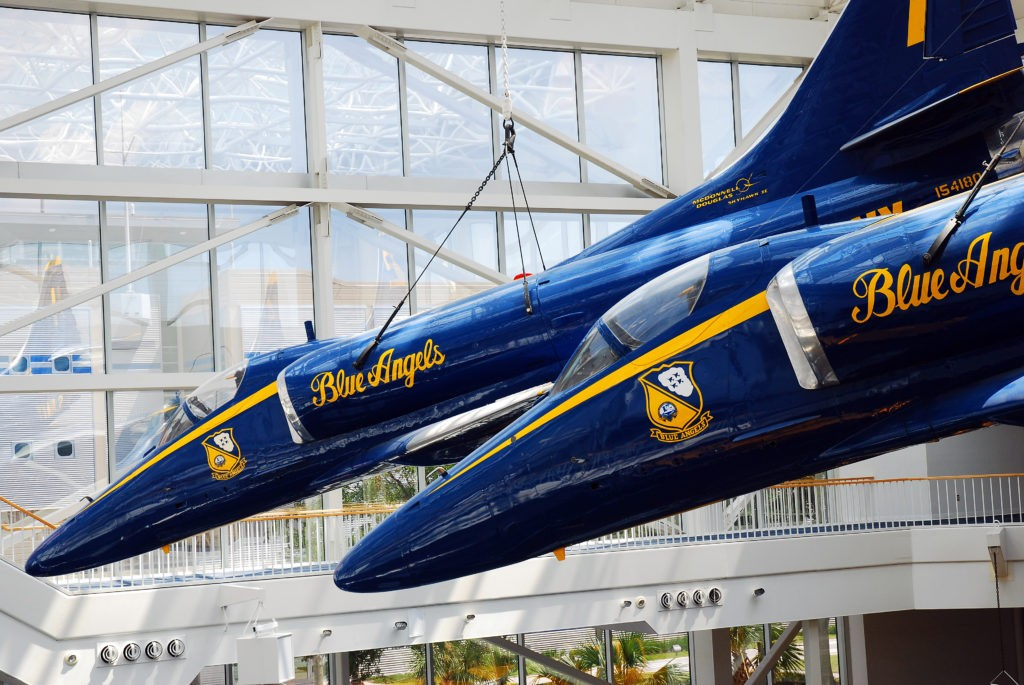 Pensacola, FL, USA September 15,  F A 18 Hornets Blue Angels are suspended over the Naval Air Museum in Pensacola, Florida