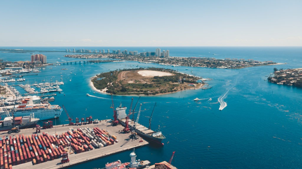 Riviera Beach, Florida USA - May 22, 2019: Aerial view on Port Palm Beach, City of Riviera Beach and Peanut Island, drone photography