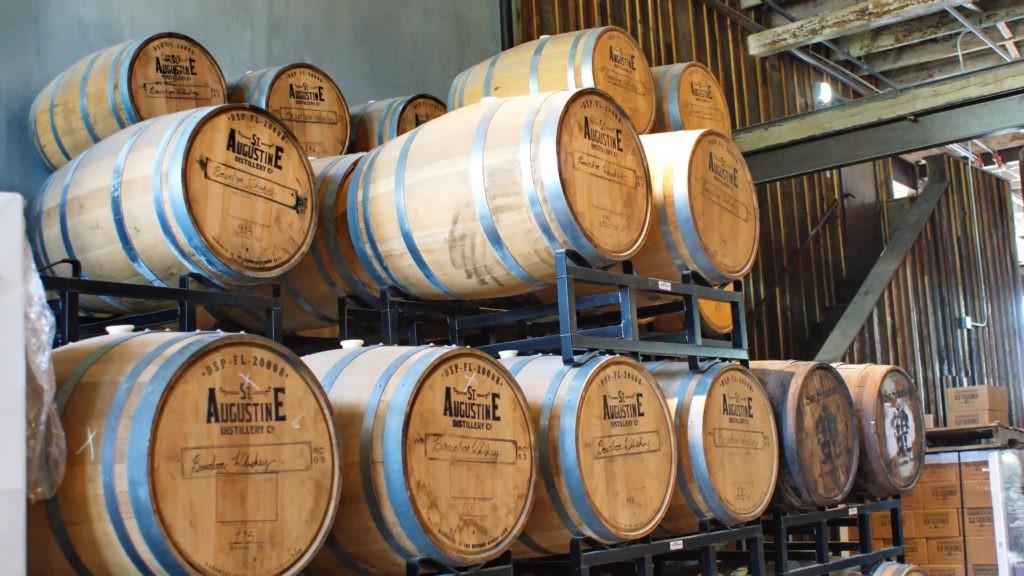 SAINT AUGUSTINE, FLORIDA, USA - CIRCA APRIL 2019: Bourbon aging barrels at a brewery