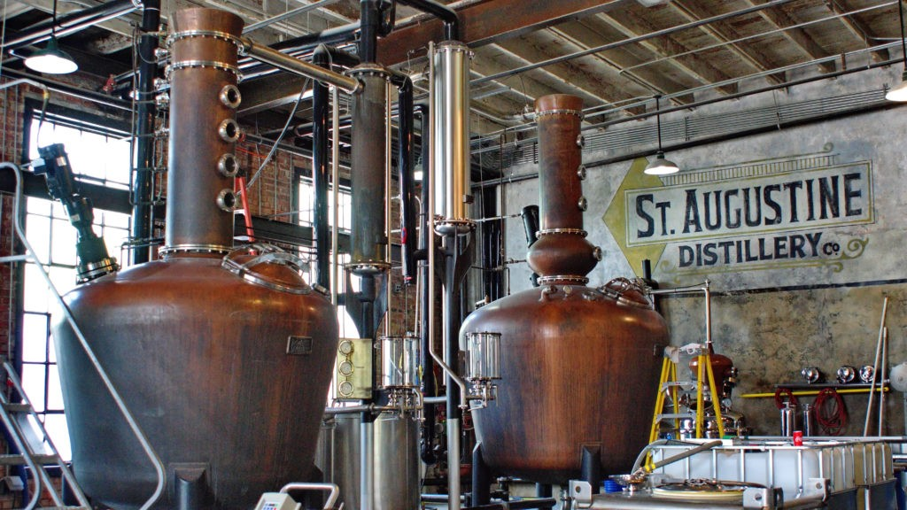 SAINT AUGUSTINE, FLORIDA, USA - CIRCA APRIL 2019: Fermentation vats at a distillery