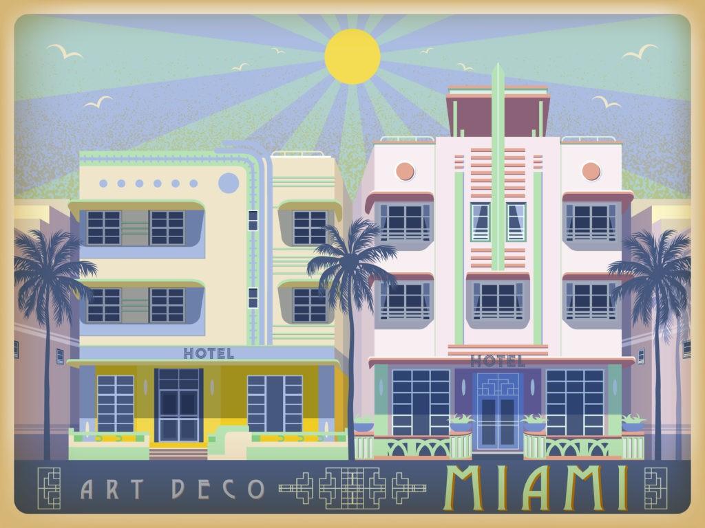 Słoneczny dzień w Miami, USA. Ręcznie robiona ilustracja wektorowa. Styl art deco.