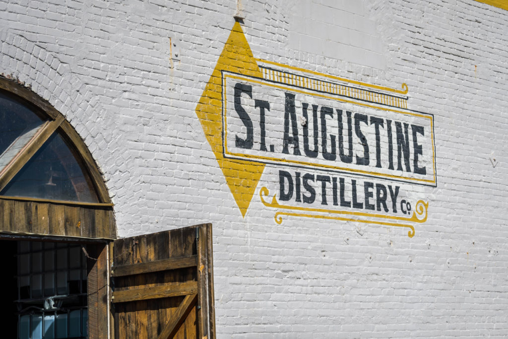 St Augustine, FL, USA - Feb 7, 2019: A welcoming signboard at the entry point of St Augustine Distillery