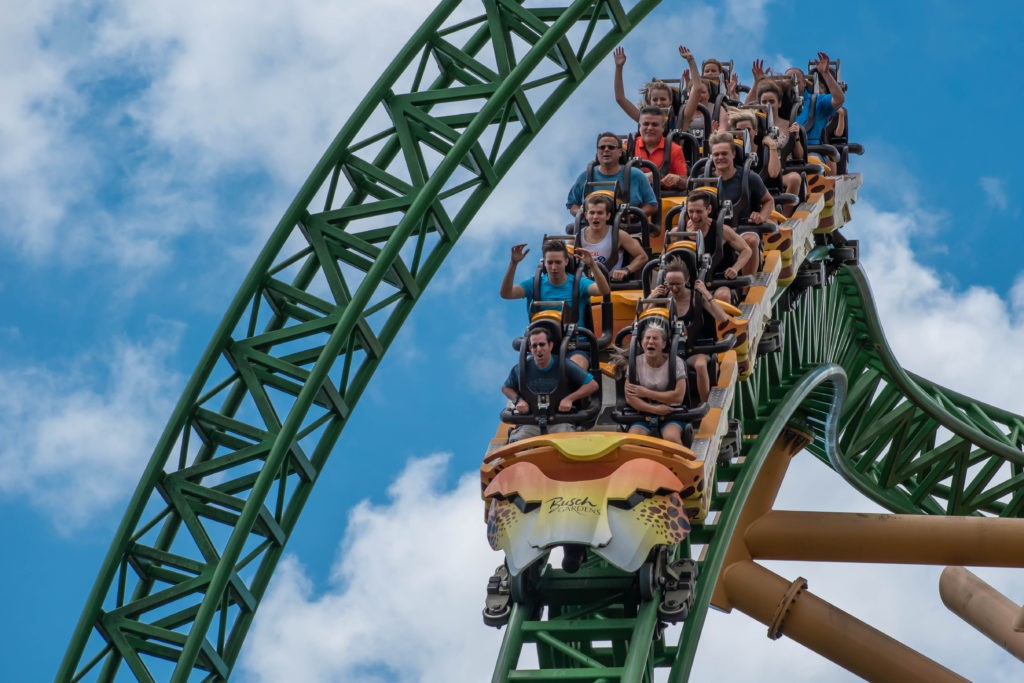 Tampa Bay, Florida. August 08, 2019. People amazing terrific Cheetah Hunt rollercoaster on lightblue cloudy sky background 79