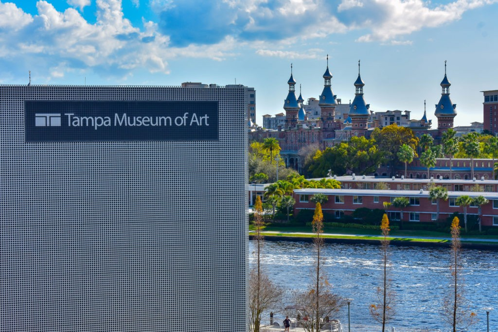 Tampa Bay, Florida. March 02, 2019 Top view of Tampa Museum of Art , Hillsborough river and Henry B. Plant Museum in downtown area.