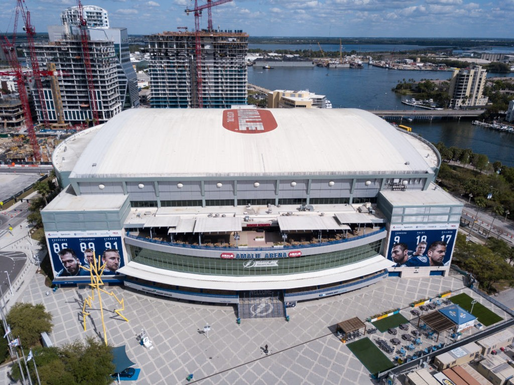 Tampa, Florida / USA - March 14, 2020: Aerial View of Amalie Arena, Home of the NHL Hockey Team, Tampa Bay Lightning