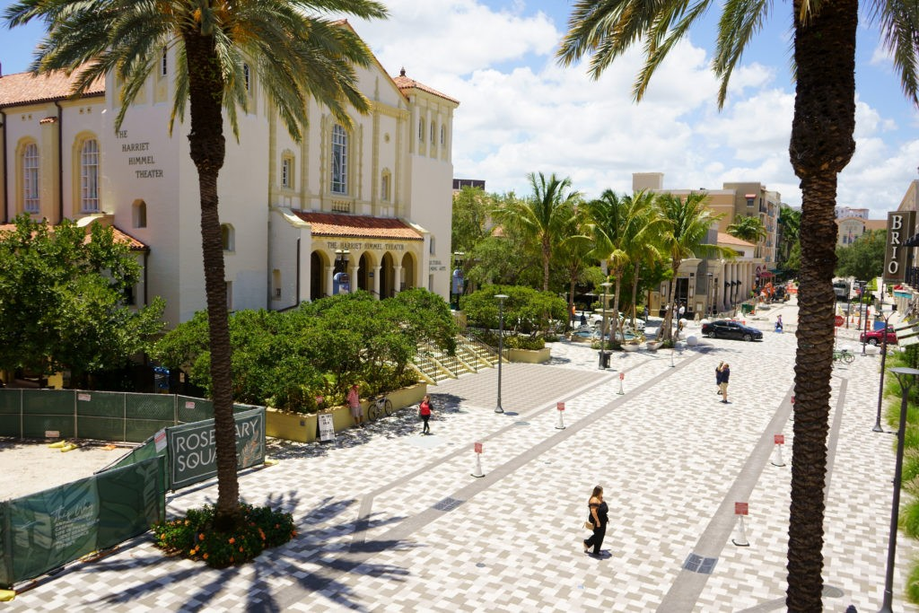 West Palm Beach, Florida, USA - May 18, 2019: Stores and streets of Rosemary Square, previously known as Cityplace, Downtown West Palm Beach, FL