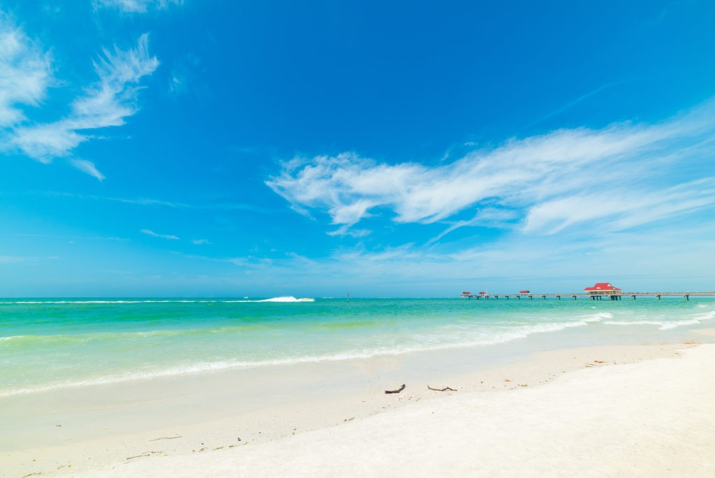 White sand and turquoise water in Clearwater. Florida, USA