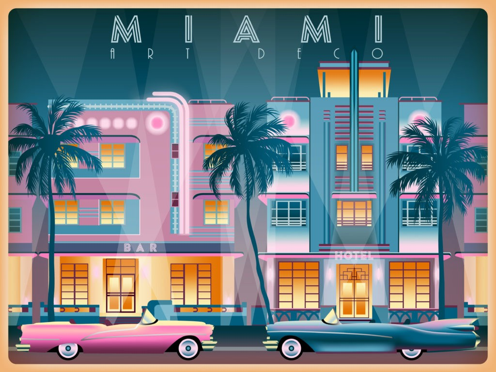 Wieczór na Ocean Drive w Miami, USA. Ręcznie robiona ilustracja wektorowa. Styl art deco. Wszystkie budynki - konfigurowalne różne obiekty.