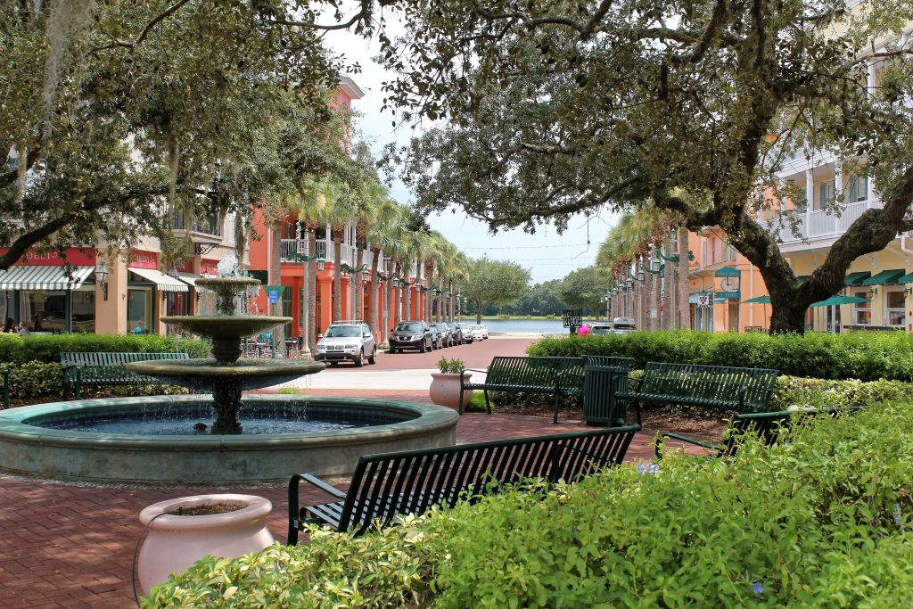 Celebration, Florida, USA - July 29, 2016: Fountain in the main place in Celebration City, located near Walt Disney World Resort and developed by The Walt Disney Company