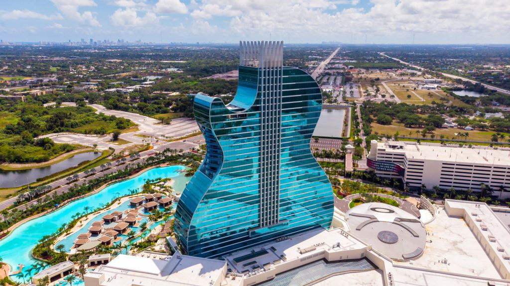 Hollywood, Florida/USA - March 22, 2020: Aerial view on New Hard Rock Casino Hotel, iconic Guitar Hotel under Florida quarantine. Guitar Hotel suspends shows amid coronavirus concerns.