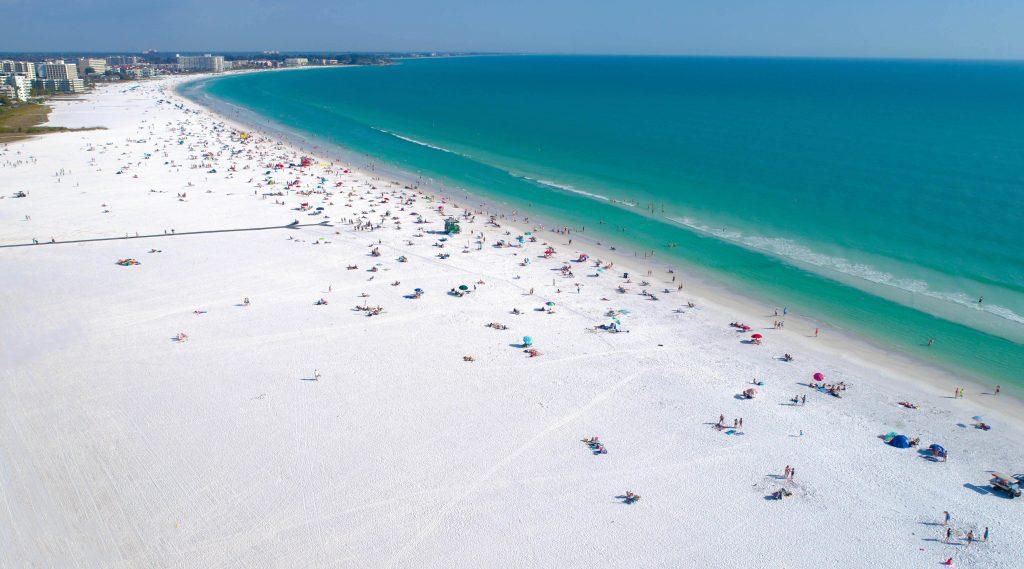 Siesta Key Beach in Sarasota Florida shot by aerial drone. #1 Beach in the USA.