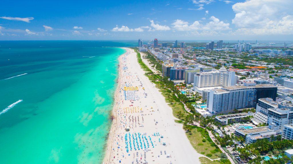 Widok z lotu ptaka Miami Beach, South Beach, Floryda, USA.